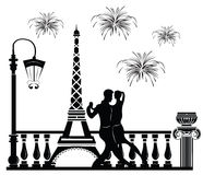 Romantic couple dancing in Paris. Tour Eiffel and fireworks on baclground. Vector sketch Royalty Free Stock Photos