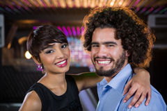 Romantic couple dancing together on dance floor Royalty Free Stock Photography
