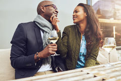 Romantic couple on a date flirting together Royalty Free Stock Images