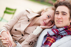 Romantic couple dating. Romentic couple dating in a park royalty free stock photography