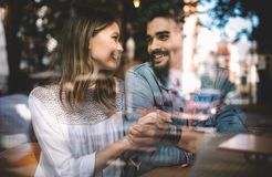 Romantic happy couple dating and spending time together. Romantic couple dating and spending time together stock image