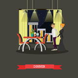 Romantic couple dinner in restaurant. Vector concept poster Stock Images