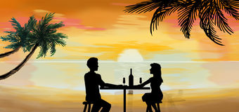 Romantic couple dinner at tropical sunset illustration Royalty Free Stock Photos