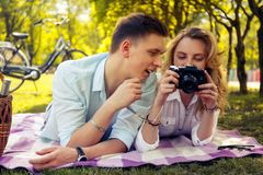 Romantic couple doing foto pictures. royalty free stock photo