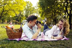 Romantic couple doing foto pictures. royalty free stock photos