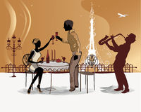 Romantic couple drink coffee in the Paris cafe with a view of the Eiffel Tower. With a musician,  saxophonist Stock Photo