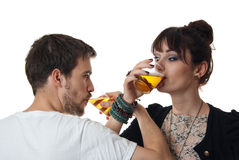 Romantic couple drinking beer Stock Photo