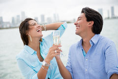 Romantic couple drinking champagne Royalty Free Stock Image