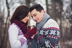 Romantic couple drinking coffee Royalty Free Stock Photo