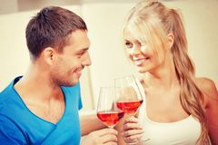 Romantic couple drinking wine Royalty Free Stock Photo
