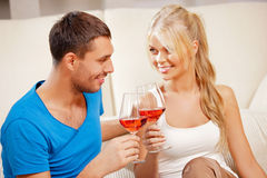 Romantic couple drinking wine Stock Photography