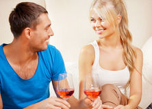 Romantic couple drinking wine Royalty Free Stock Photos