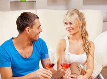 Romantic couple drinking wine Royalty Free Stock Image