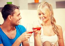 Romantic couple drinking wine Stock Images