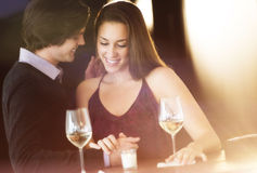 Romantic Couple With Drinks In Nightclub Stock Photos