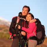 Romantic couple embracing hiking active lifestyle Stock Image