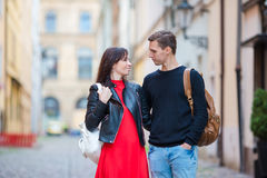 Romantic couple enjoy holidays in Europe. Happy family enjoying vacation on their honeymoon. Happy tourist couple, men and women traveling on holidays in Europe stock images