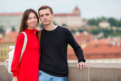 Romantic couple enjoy holidays in Europe. Happy family enjoying vacation on their honeymoon. Happy tourist couple, men and women traveling on holidays in Europe royalty free stock image