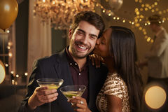 Romantic Couple Enjoying Cocktail Party Together Royalty Free Stock Images