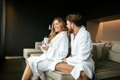 Romantic couple enjoying honeymoon escape. And wellness weekend Stock Image