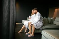 Romantic couple enjoying honeymoon escape royalty free stock photos