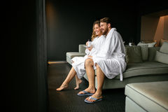 Romantic couple enjoying honeymoon escape. And wellness weekend Royalty Free Stock Photo