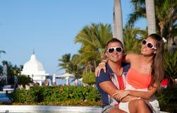 Romantic Couple Enjoying Sunset. Royalty Free Stock Photos
