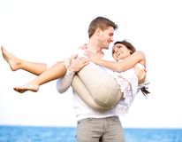 Romantic Couple Enjoying Themselves Outdoors Royalty Free Stock Photo