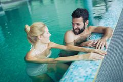 Romantic couple enjoying thermal bath Stock Photos