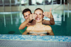 Romantic couple enjoying thermal bath royalty free stock image