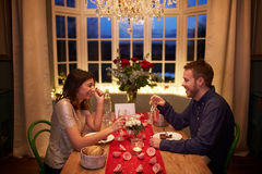 Romantic Couple Enjoying Valentines Day Meal Together Stock Photography