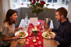 Romantic Couple Enjoying Valentines Day Meal Together Stock Photo