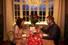 Romantic Couple Enjoying Valentines Day Meal Together Stock Photos