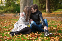 Romantic couple at fall. Romantic couple in park at fall royalty free stock photos