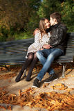 Romantic couple at fall. Dating royalty free stock photos