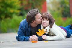 Romantic couple on a fall day Royalty Free Stock Photo
