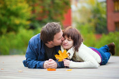 Romantic couple on a fall day Royalty Free Stock Image