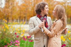 Romantic couple at fall Royalty Free Stock Photo