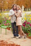 Romantic couple at fall Stock Images