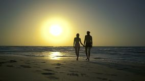 Romantic couple is falling in love on shore of the sea at sunset. Man with woman is holding hands and walking along the. Golden sandy beach. Two hipster in love stock video footage