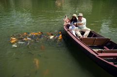 Romantic couple feeding goldfish in pond Stock Photography