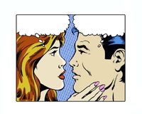 Comic pop art illustration of a romantic couple gazing. A romantic couple gazing into each other's eyes Stock Photos