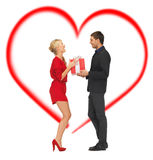 Romantic couple with gift box stock images