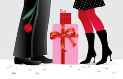 Romantic couple with gifts. Romantic couple with special presents at party- vector illustration Stock Photography