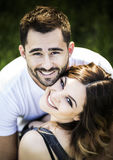 Romantic couple girlfriend and boyfriend having fun summer park Stock Photos