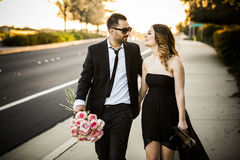 Romantic couple girlfriend and boyfriend having fun summer park Stock Images
