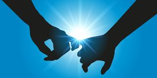 Two lovers hold hands in front of a bright sun stock illustration