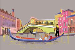 Romantic couple in the gondola travels along the Grand Canal in Italy. stock illustration