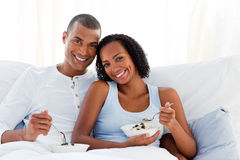 Romantic couple having breakfast Royalty Free Stock Image