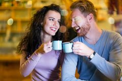 Romantic couple having date in coffee shop Stock Photography